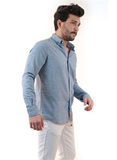 Boris Becker Uzun Kollu Apoletli Yaka Düğmeli Düz Erkek Gömlek İndigo